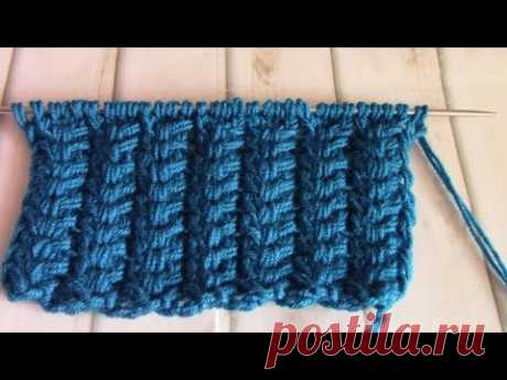 МК. Простейший объемный узор для кардиганов, снудов, (knit patterns)#узорыспицами