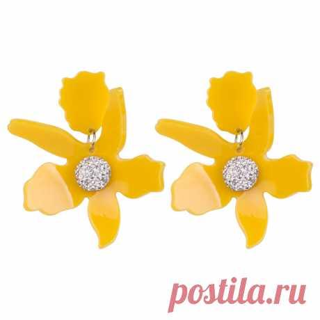 """Серьги """"Цветок"""", Premium Acrylic (Арт.: 74403-89) купить по выгодной цене в Интернет-магазине Море блеска"""
