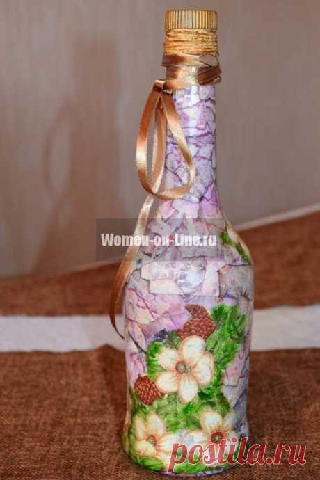 Мастер-класс: декупаж и декопатч бутылки, имитация камня