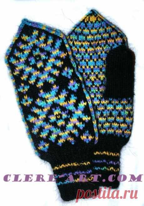 Планета Вязания | Узорные варежки Шонди. Схема вязания спицами. Мастер-класс по вязанию