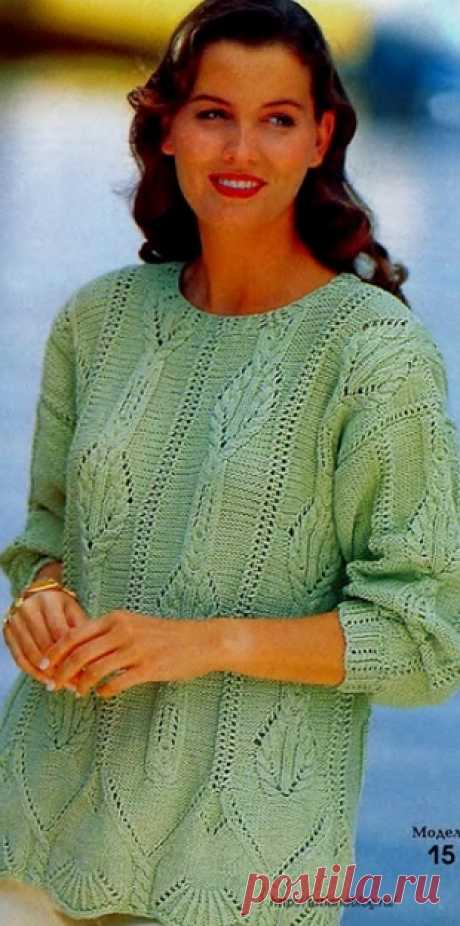 Пуловер салатного цвета спицами