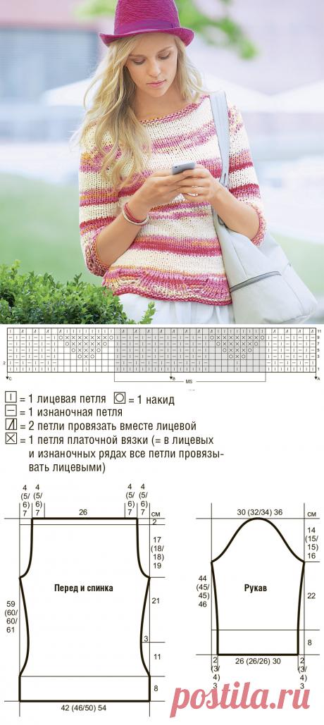 Джемпер в полоску с ажурным краем - схема вязания спицами. Вяжем Джемперы на Verena.ru