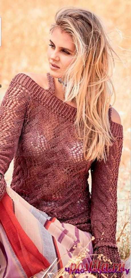 Пуловер с открытыми плечами вязаный спицами 1891 | ✺❁сайт ЧУДО-клубок ❣ ❂✺Перед этим вязаным пуловером с тонким ажуром, открытыми плечами и слегка расклешенными внизу рукавами устоять невозможно! ❂ ►►➤6 000 ✿моделей вязания ❣❣❣ 70 000 узоров►►Заходите❣❣ %