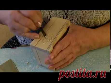 "Декупаж шкатулки ""День Св. Валентина"" с элементами резьбы по дереву. Шаг 1. - Decoupage box ""Valentine's Day. Valentine"" with elements of wood carving"