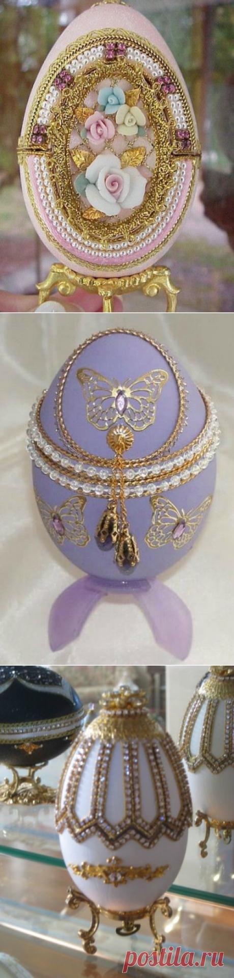 Пасхальные яйца с декоративными камнями - Домашний hand-made