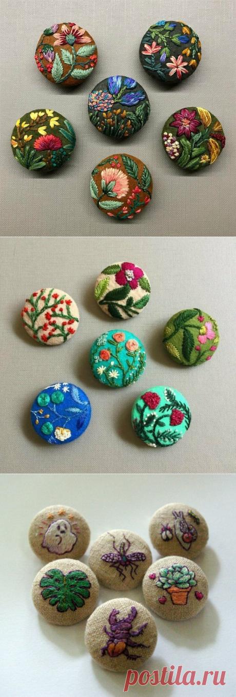 Элемент декора: пуговицы с вышивкой. Схемы и идеи | Создавай сам | Яндекс Дзен