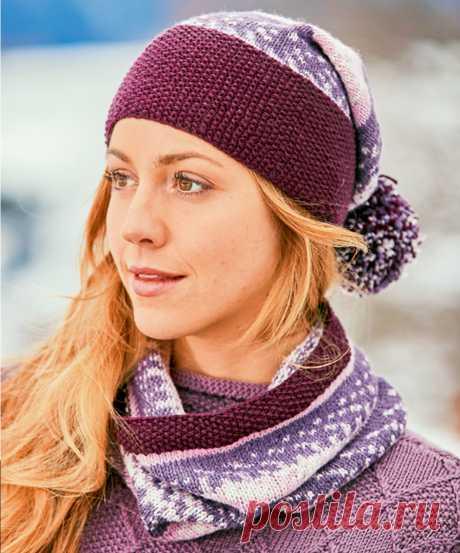 Снуд и шапка в норвежском стиле - схема вязания спицами с описанием на Verena.ru