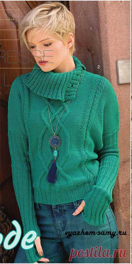 Пуловер со спущенными плечами.