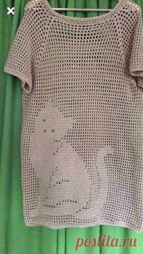 Туника-реглан в филейной технике. Крючком. Схема. / knittingideas.ru