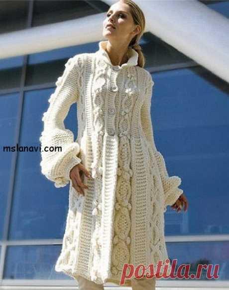 Белое пальто от Phildar | Вяжем с Лана Ви