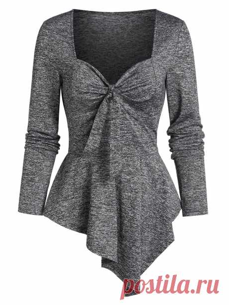 [36% OFF] 2020 Ruched Asymmetric Heathered Peplum T-shirt In ASH GRAY | DressLily