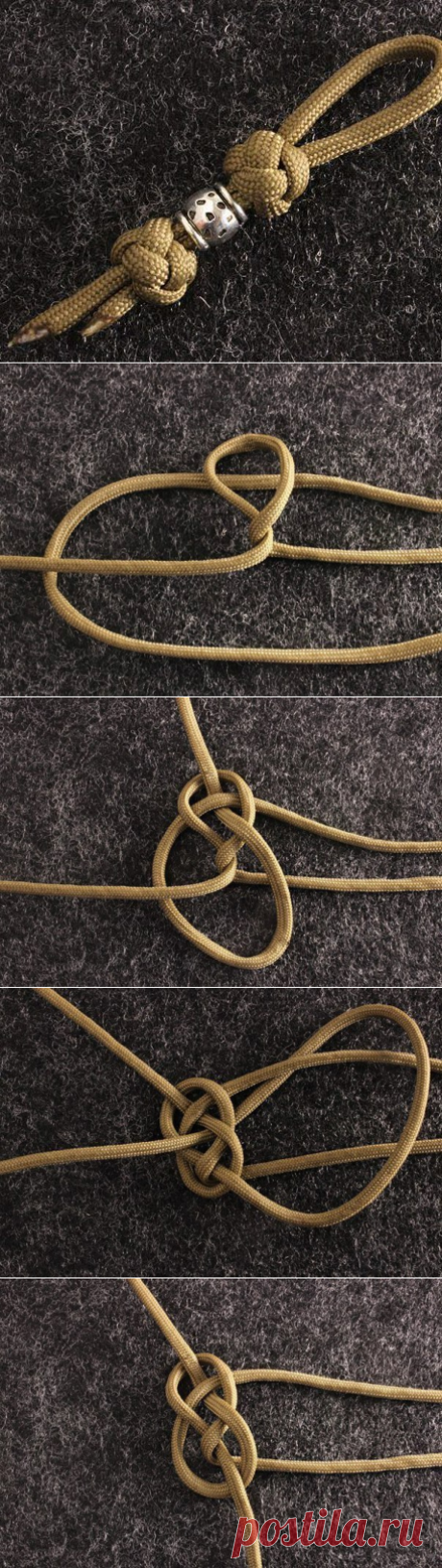 The instruction in pictures on setting of diamond knot