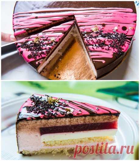 Малиново - красносмородиновый торт мусс Торт ко дню рождения близкого друга семьи. Пришлось повозиться, но оно того стоит! Торт получился легкий и очень ягодный, не приторный, с освежающей кислинкой красной смородины и ароматом малины. Зеркальная глазурь отражала солнечные блики воскресного утра и улыбки близких людей! Наш торт построен…