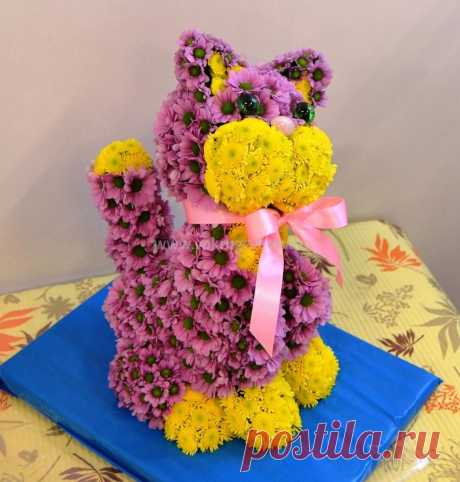 Игрушка из живых цветов «Котенок» - интернет-магазин «Вокруг цветов»