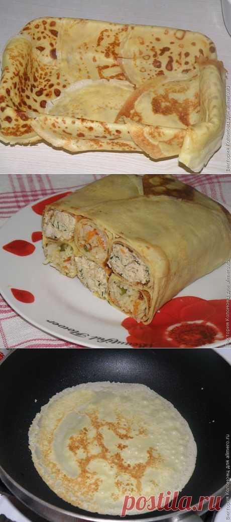 Блинный пирог с курицей и рисом / Рецепты с фото