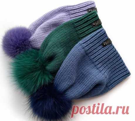 Простая шапка спицами с помпоном, Вязание для женщин
