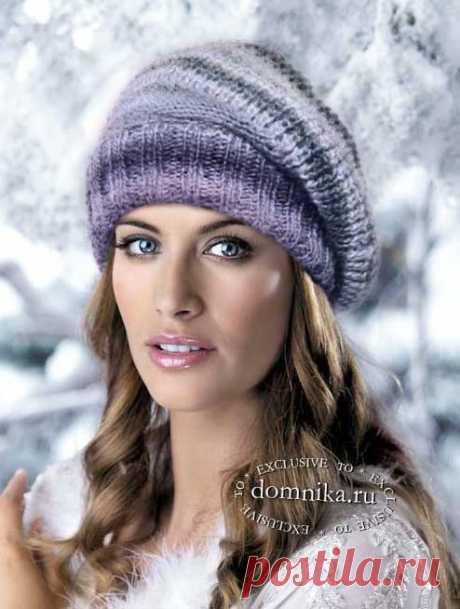 Самый простой берет на зиму - вязание спицами шапки резинкой