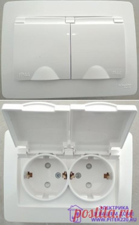 Обзор. Двойная розетка с IP44 в одно монтажное отверстие (серия Blanca от Schneider  Electric)