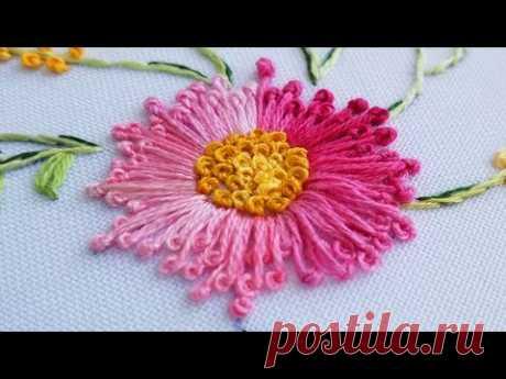 ВЫШИВКА для начинающих ШОВ ПЕСТИК    EMBROIDERY for beginners pistil stitch