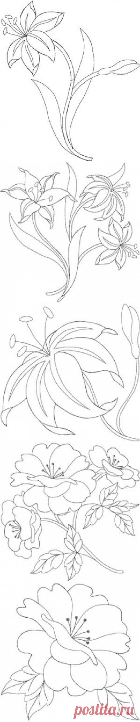 Цветочные мотивы для вышивки (росписи).