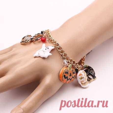 Halloween bracelet skull pumpkin punk charm bracelet christmas bracelet for women Sale - Banggood.com