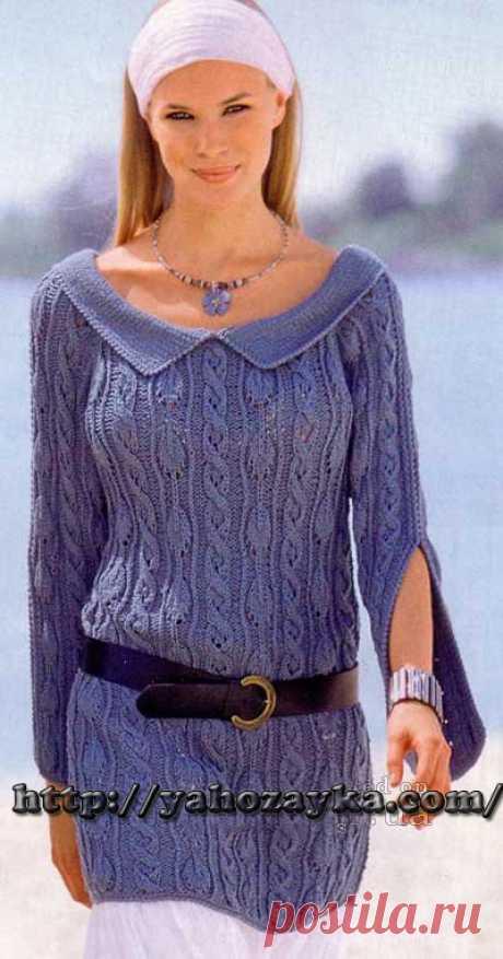 Пуловер с отложным воротником - схема вязания + фото и описание Схема вязания спицами пуловера с отложным воротником - вязание для домохозяек.