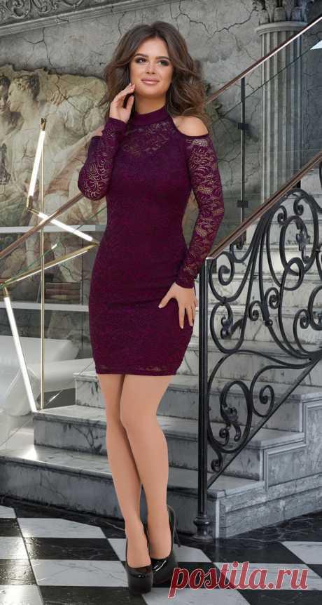 Короткое гипюровое платье с открытыми плечиками № 3635,марсала - Платье норма 42-48 - Модные вечерние платья: купить недорого у производителя в розницу, доставка по Украине | Lemanta.com