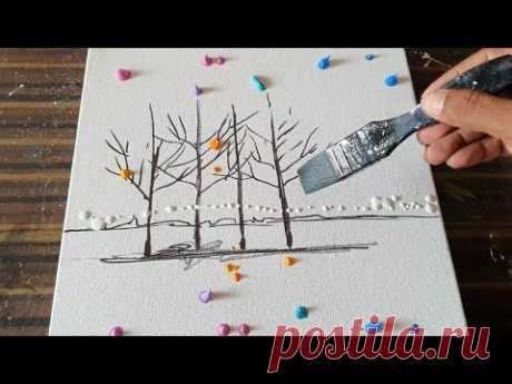 Easy Abstract Landscape Painting Demo/ For Beginners/Acrylics & Fan Brush/Daily Art Therapy/Day#0141