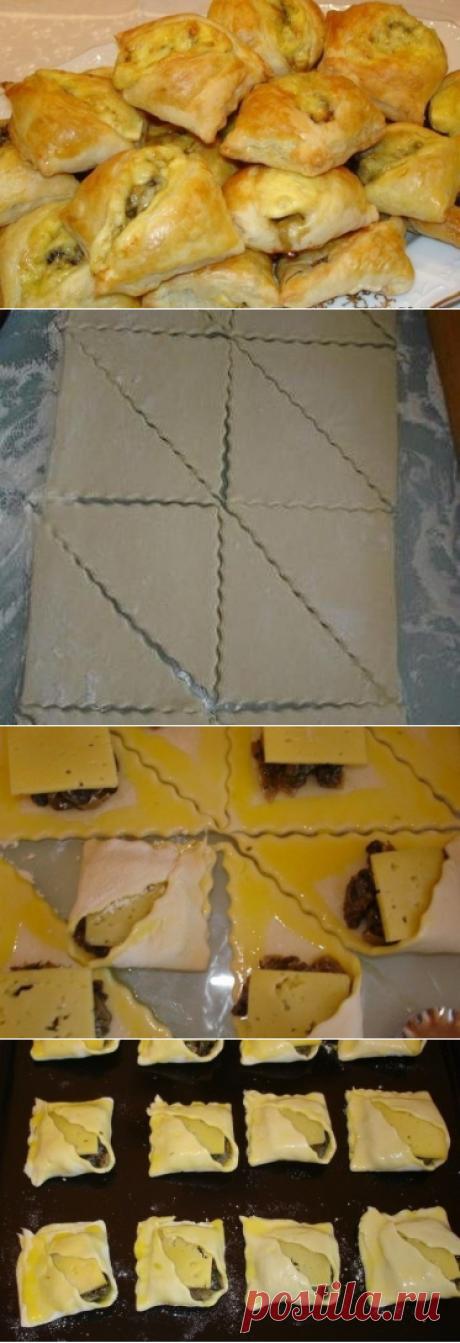 Как приготовить закусочные пирожки с грибами и сыром - рецепт, ингридиенты и фотографии