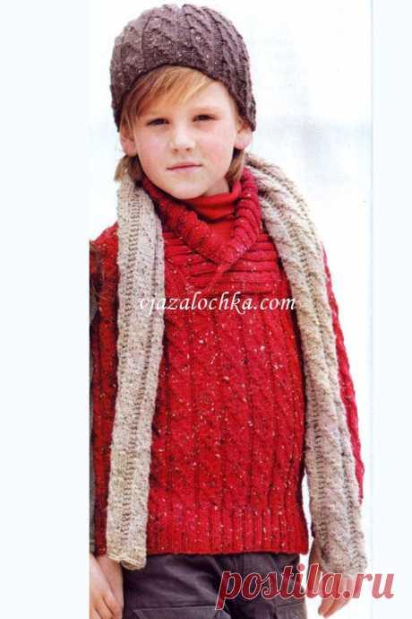 Шапка шарф и джемпер для мальчика.