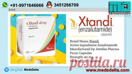 Xtandi Capsules contains Enzalutamide in it available at MedsDelta Trusted Supplier and Exporter at wholesale price. At *MedsDelta, we offers a wide range of pharmacy services not available at most local pharmacies, including  delivery, online refills, and specialty medications – all with the potential for cost savings. Call/WhatsApp: +91–9971646666, QQ: 3451266709 for know detailed information about the Enzalutamide Capsules and delivery to countries including Austria, Bahrain, Bangladesh,
