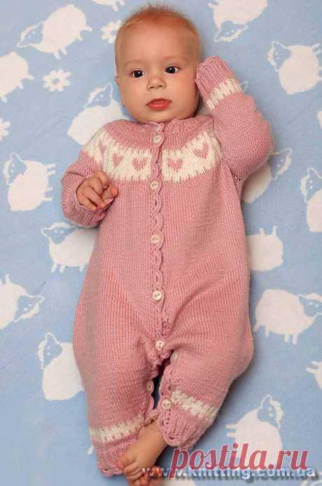 Вязание спицами комбинезоны на 6 месяцев - Теплый и мягкий детский комбинезон спицами