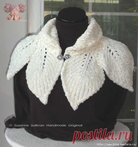 Красивый вязанный шарф-воротник листочками.
