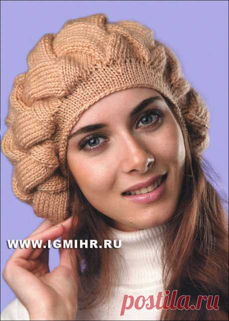"Volume beret ""Плетенка"" light brown color. Spokes."