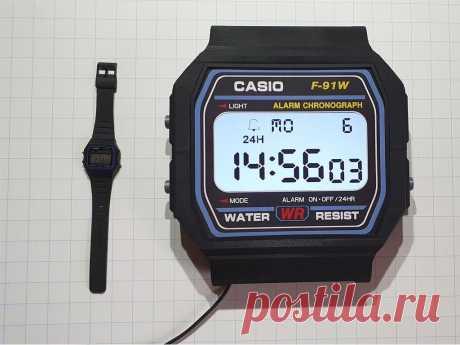 """Настенные часы Casio В этой статье мастер-самодельщик расскажет нам, как он сделал реплику часов Casio F-91W большого размера. Эти часы полностью работоспособны имеют дисплей и управляются с помощью Arduino.Давайте посмотрим небольшой видеоролик.Инструменты и материалы:-Дисплей Nextion 7.0"""";-Адаптер Nextion"""