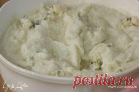 Пюре из цветной капусты с пармезаном и голубым сыром. Ингредиенты: капуста цветная, пармезан, сыр голубой