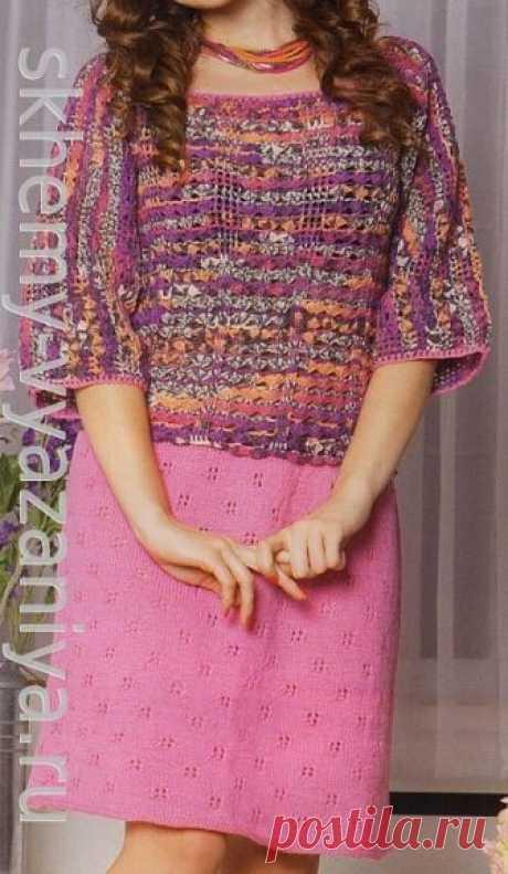 Двухцветное платье, выполненное крючком и спицами (комбинированным вязанием)