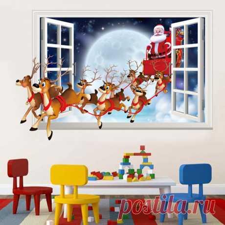 3D ПВХ Новогодние товары украшения для дома Стекло Наклейки на стену Домашний Декор окна гостиной наклейка Наклейки на стену могут быть удалены подарок купить на AliExpress