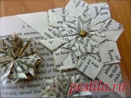 Цветочек оригами - закладка для книжки. Видео МК