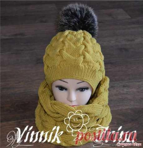 4 теплых зимних комплекта (шапка+снуд) спицами » Женский Мир