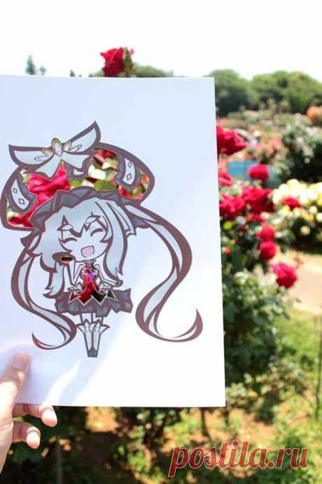 Японская художница раскрашивает свои иллюстрации с помощью самой природы