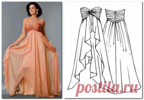 Выкройка длинного вечернего платья в натуральную величину.