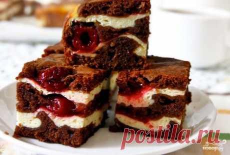 Шоколадный брауни с творогом и вишней - пошаговый рецепт с фото на Повар.ру