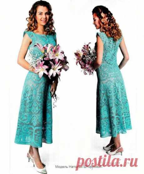 Платье крючком, филейное вязание