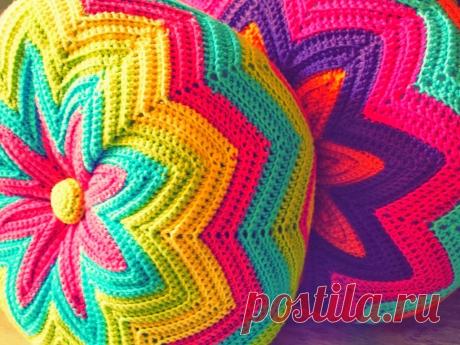 Круглая подушка крючком узором зигзаг (очень просто) | 38 рукоделок | Яндекс Дзен