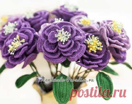 Японская роза крючком. Описание вязания (Вязаные цветы) — Журнал Вдохновение Рукодельницы