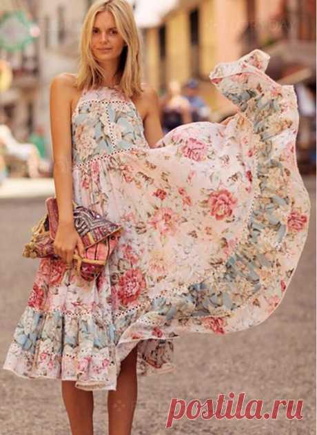 Floral Ruffles Skater Round Neckline A-line Dress - Floryday