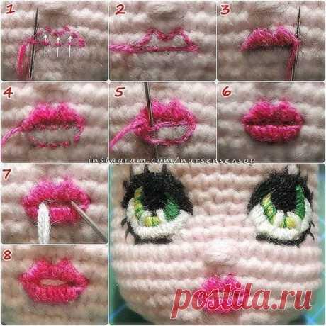 """Вяжем куколку. Как вышить на вязаном полотне губы.  Вопрос подписчицы:""""Вот связала куклу, нужно же как-то оформить ей лицо."""" Посмотрите, как это делается"""