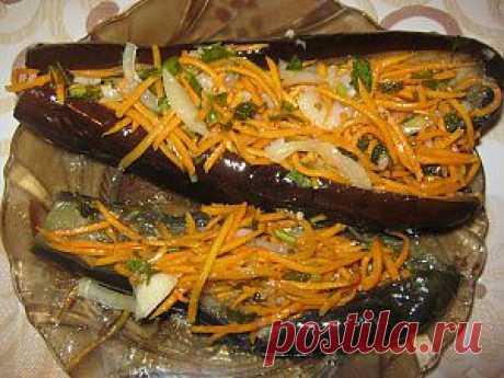 Баклажаны фаршированные корейской морковью | 4vkusa.ru