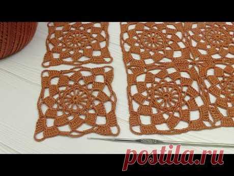 Вязание крючком ПРОСТОЙ КВАДРАТНЫЙ МОТИВ мастеркласс СОЕДИНЕНИЕ МОТИВОВ Crochet Beginners the square